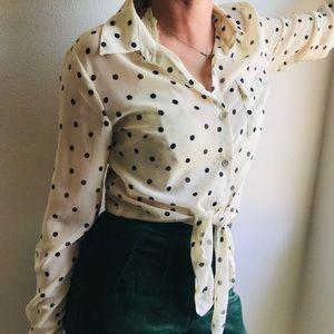 Cream polka dot Button Down Shirt